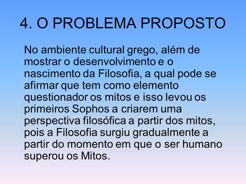 4. O PROBLEMA PROPOSTO No ambiente cultural grego, além de mostrar o desenvolvimento e o nascimento da Filosofia, a qual pode se afirmar que tem como