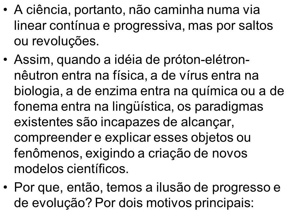 A ciência, portanto, não caminha numa via linear contínua e progressiva, mas por saltos ou revoluções. Assim, quando a idéia de próton-elétron- nêutro