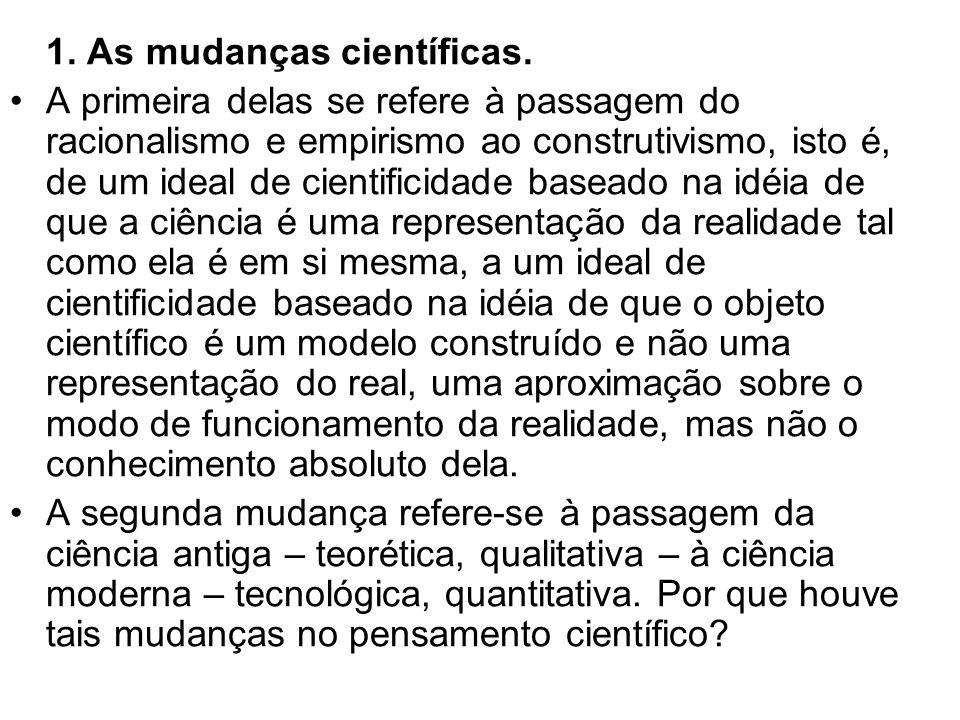 1. As mudanças científicas. A primeira delas se refere à passagem do racionalismo e empirismo ao construtivismo, isto é, de um ideal de cientificidade