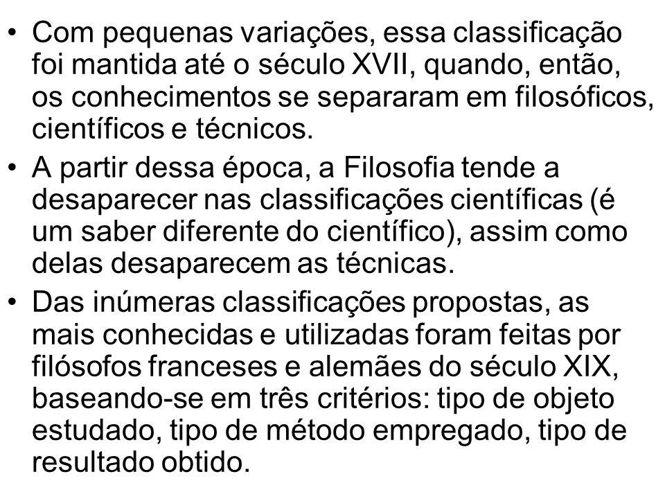 Com pequenas variações, essa classificação foi mantida até o século XVII, quando, então, os conhecimentos se separaram em filosóficos, científicos e t