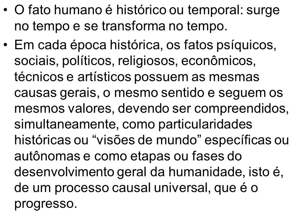 O fato humano é histórico ou temporal: surge no tempo e se transforma no tempo. Em cada época histórica, os fatos psíquicos, sociais, políticos, relig