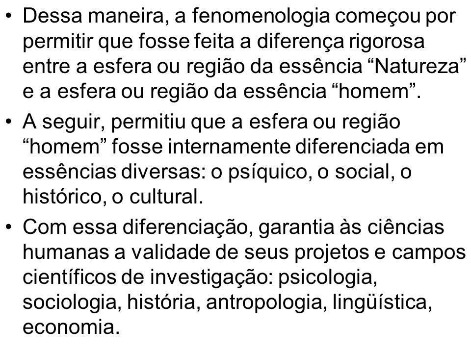 Dessa maneira, a fenomenologia começou por permitir que fosse feita a diferença rigorosa entre a esfera ou região da essência Natureza e a esfera ou r