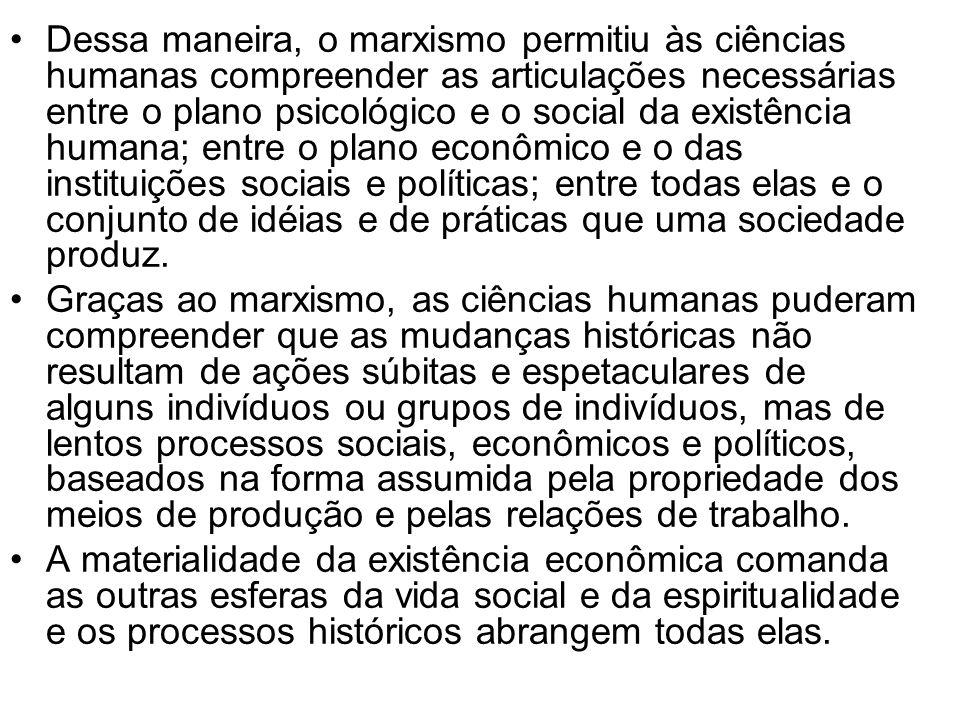 Dessa maneira, o marxismo permitiu às ciências humanas compreender as articulações necessárias entre o plano psicológico e o social da existência huma