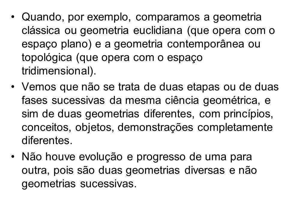 Quando, por exemplo, comparamos a geometria clássica ou geometria euclidiana (que opera com o espaço plano) e a geometria contemporânea ou topológica