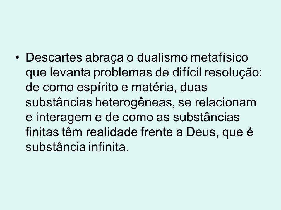 No que diz respeito à metafísica, Descartes, supondo a existência das idéias inatas, inclina-se para o idealismo e, em consequência, aproxima-se de Platão e Santo Agostinho; por isso, muitos autores de influência agostiniana se dizem cartesianos.