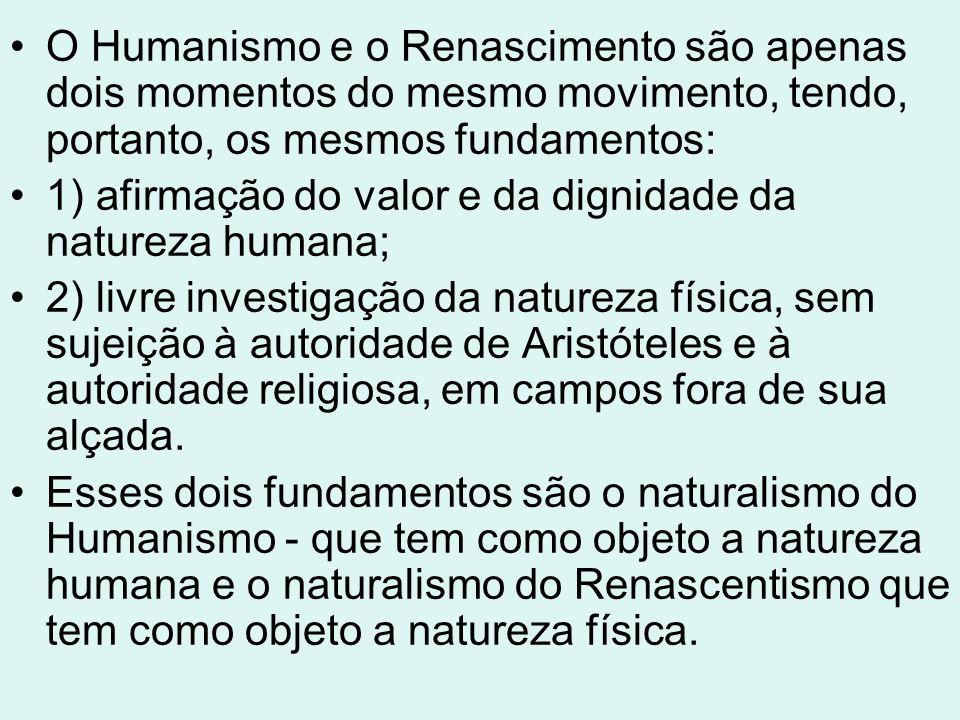 A fé inabalável na natureza humana fez com que os renascentistas acreditassem que a inteligência e a liberdade do homem são ilimitadas e que a ele, sendo livre, para agir bem, basta seguir as leis da sua natureza.