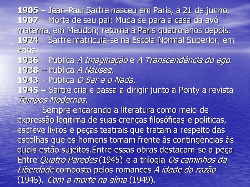 1905 – Jean-Paul Sartre nasceu em Paris, a 21 de junho. 1907 – Morte de seu pai: Muda se para a casa da avó materna, em Meudon; retorna a Paris quatro