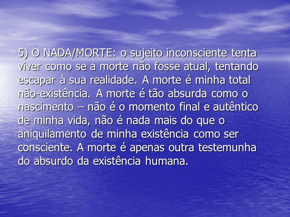5) O NADA/MORTE: o sujeito inconsciente tenta viver como se a morte não fosse atual, tentando escapar à sua realidade. A morte é minha total não-exist