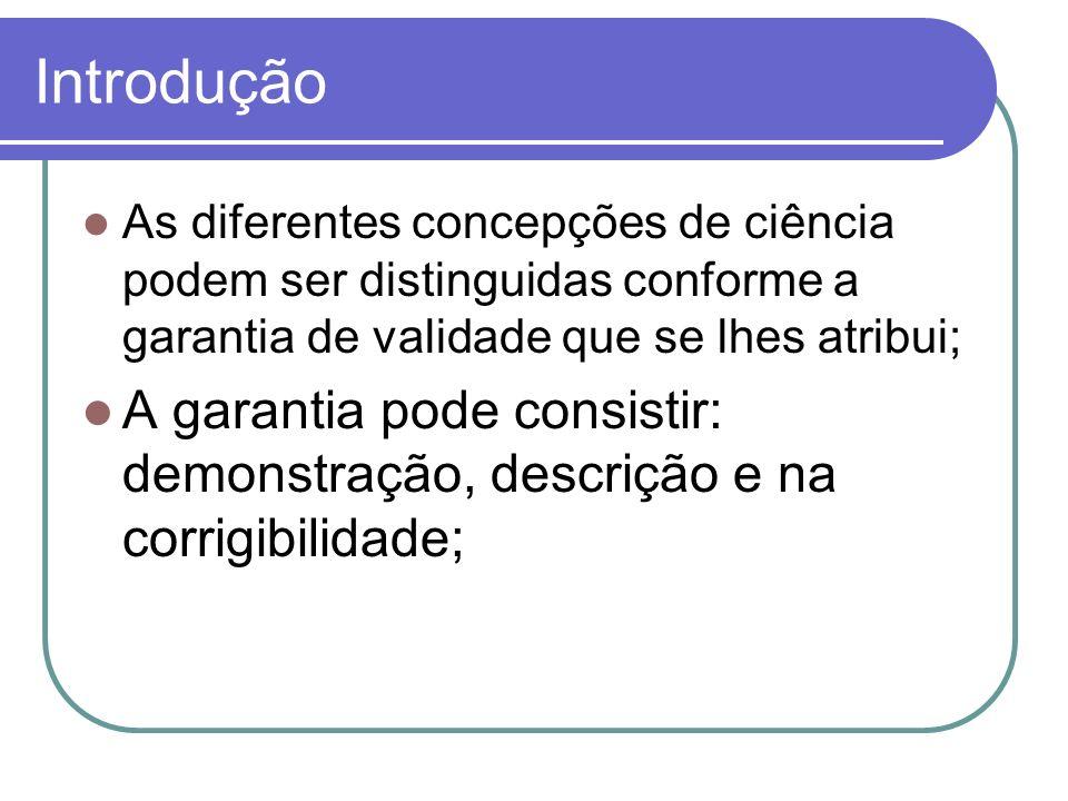 Introdução A) A garantia científica com base na demonstração> é o ideal da ciência clássica.