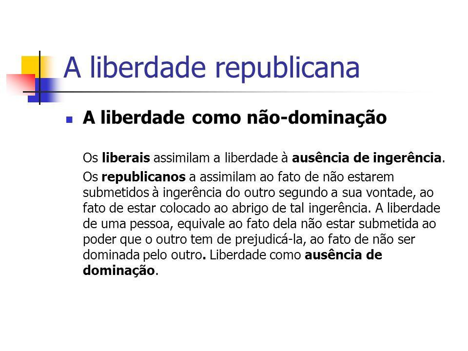A liberdade republicana A liberdade como não-dominação Os liberais assimilam a liberdade à ausência de ingerência. Os republicanos a assimilam ao fato