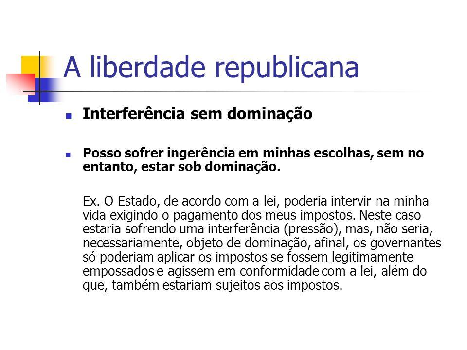 A liberdade republicana Interferência sem dominação Posso sofrer ingerência em minhas escolhas, sem no entanto, estar sob dominação. Ex. O Estado, de