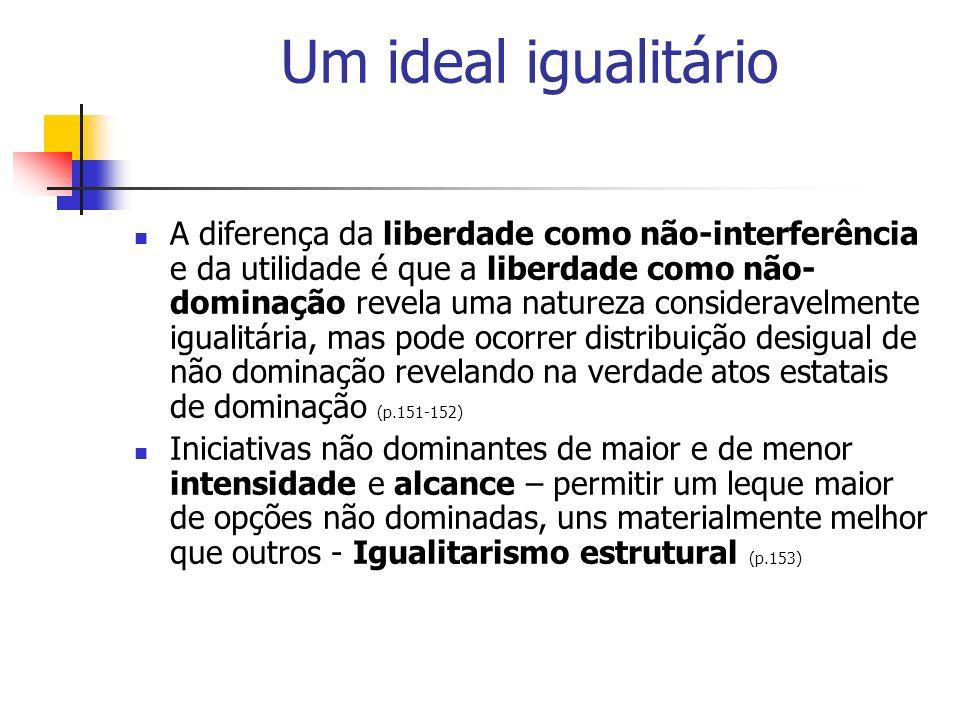 Um ideal igualitário A diferença da liberdade como não-interferência e da utilidade é que a liberdade como não- dominação revela uma natureza consider