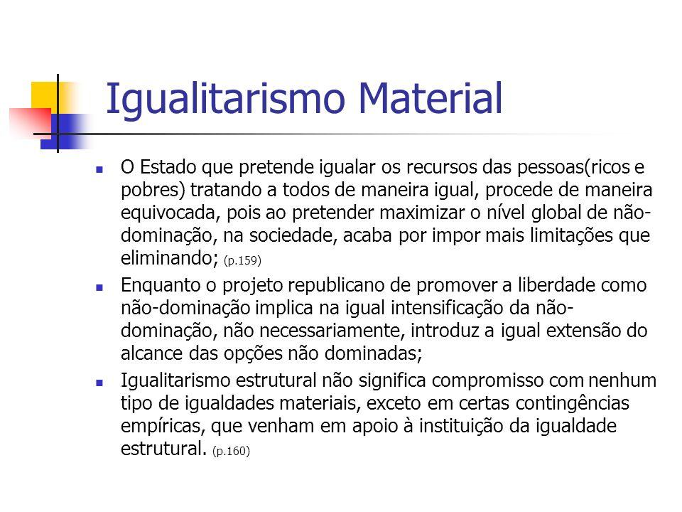 Igualitarismo Material O Estado que pretende igualar os recursos das pessoas(ricos e pobres) tratando a todos de maneira igual, procede de maneira equ
