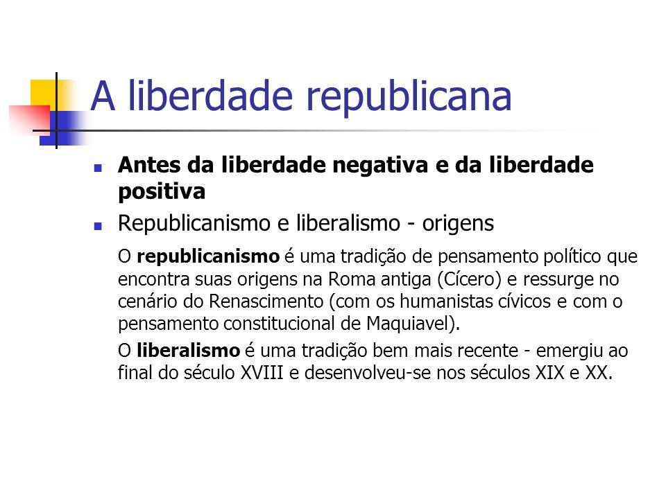 A liberdade republicana O liberalismo, segundo alguns autores, é o projeto recorrente de encontrar para o Estado uma justificação leiga, que estivesse ao abrigo de qualquer usurpação religiosa, absolutista e até mesmo populista.