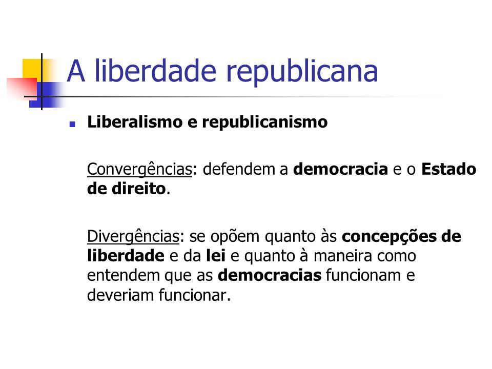 A liberdade republicana Liberalismo e republicanismo Convergências: defendem a democracia e o Estado de direito. Divergências: se opõem quanto às conc