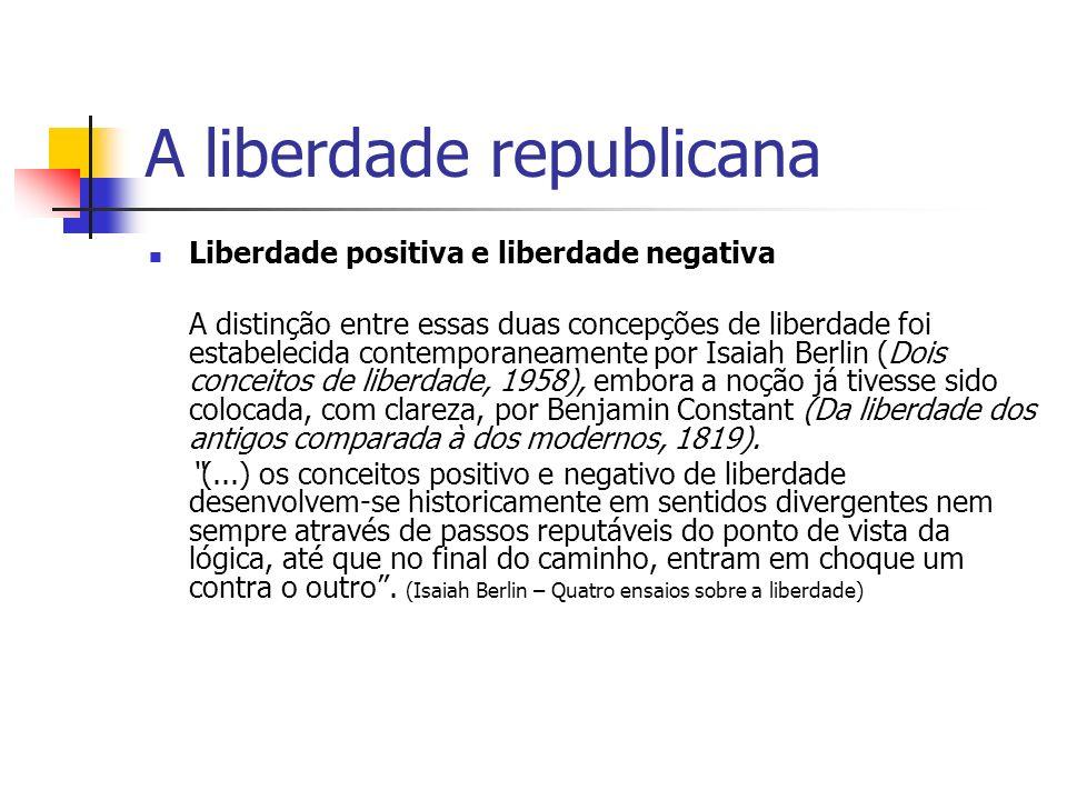 A liberdade republicana Liberdade positiva e liberdade negativa A distinção entre essas duas concepções de liberdade foi estabelecida contemporaneamen