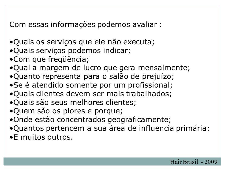 Hair Brasil - 2009 Com essas informações podemos avaliar : Quais os serviços que ele não executa; Quais serviços podemos indicar; Com que freqüência;