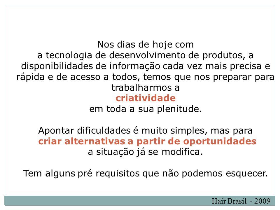 Hair Brasil - 2009 Nos dias de hoje com a tecnologia de desenvolvimento de produtos, a disponibilidades de informação cada vez mais precisa e rápida e