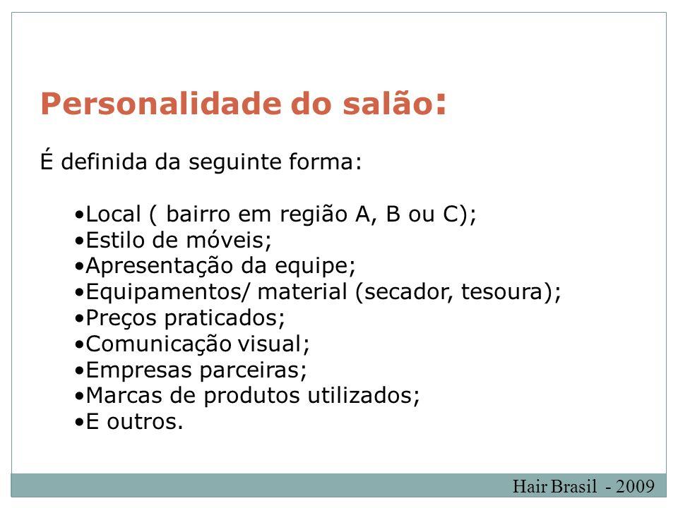 Hair Brasil - 2009 Personalidade do salão : É definida da seguinte forma: Local ( bairro em região A, B ou C); Estilo de móveis; Apresentação da equip