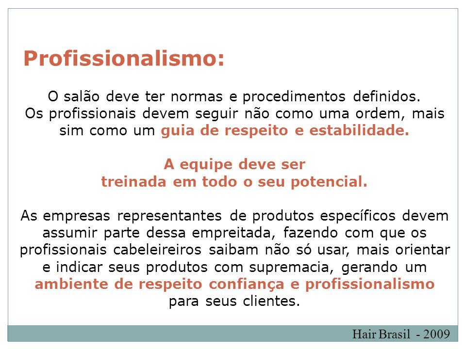 Hair Brasil - 2009 Profissionalismo: O salão deve ter normas e procedimentos definidos. Os profissionais devem seguir não como uma ordem, mais sim com