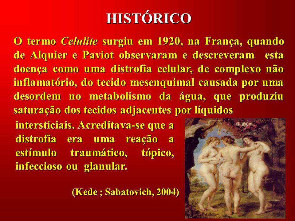 HISTÓRICO O termo Celulite surgiu em 1920, na França, quando de Alquier e Paviot observaram e descreveram esta doença como uma distrofia celular, de c