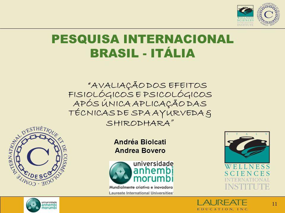 11 PESQUISA INTERNACIONAL BRASIL - ITÁLIA AVALIAÇÃO DOS EFEITOS FISIOLÓGICOS E PSICOLÓGICOS APÓS ÚNICA APLICAÇÃO DAS TÉCNICAS DE SPA AYURVEDA & SHIROD