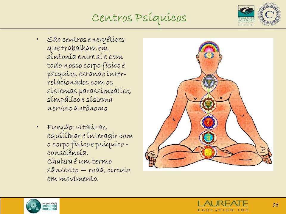 36 Centros Psíquicos São centros energéticos que trabalham em sintonia entre si e com todo nosso corpo físico e psíquico, estando inter- relacionados