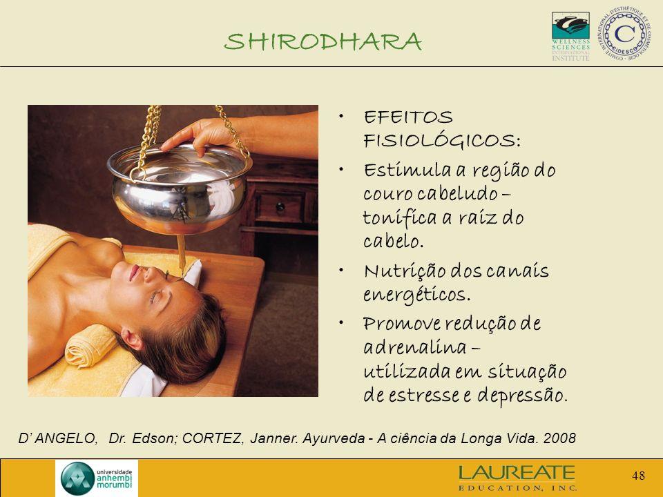 48 SHIRODHARA EFEITOS FISIOLÓGICOS: Estimula a região do couro cabeludo – tonifica a raiz do cabelo. Nutrição dos canais energéticos. Promove redução