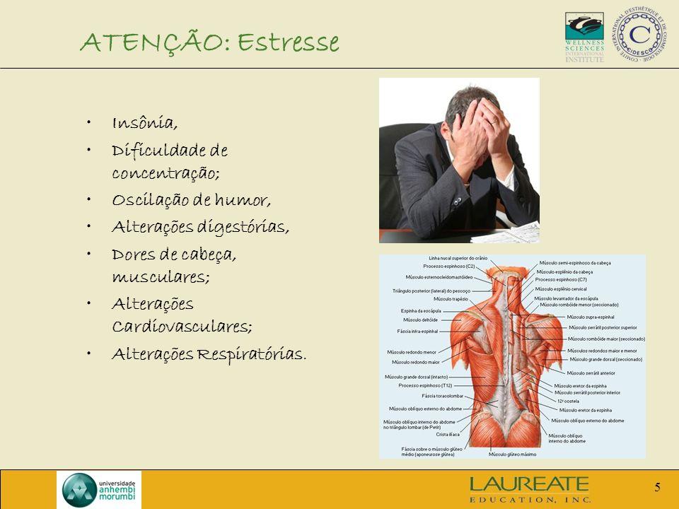 5 ATENÇÃO: Estresse Insônia, Dificuldade de concentração; Oscilação de humor, Alterações digestórias, Dores de cabeça, musculares; Alterações Cardiova