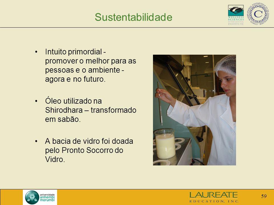 59 Sustentabilidade Intuito primordial - promover o melhor para as pessoas e o ambiente - agora e no futuro. Óleo utilizado na Shirodhara – transforma