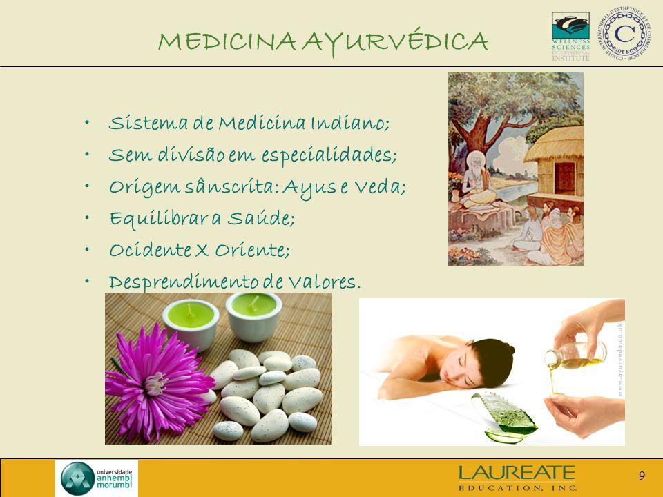 9 MEDICINA AYURVÉDICA Sistema de Medicina Indiano; Sem divisão em especialidades; Origem sânscrita: Ayus e Veda; Equilibrar a Saúde; Ocidente X Orient