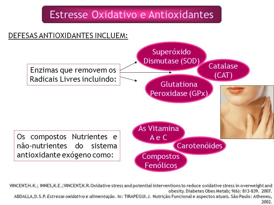 Estresse Oxidativo e Antioxidantes DEFESAS ANTIOXIDANTES INCLUEM: Enzimas que removem os Radicais Livres incluindo: Superóxido Dismutase (SOD) Catalase (CAT) Glutationa Peroxidase (GPx) Os compostos Nutrientes e não-nutrientes do sistema antioxidante exógeno como: As Vitamina A e C Carotenóides Compostos Fenólicos VINCENT,H.K.; INNES,K.E.;VINCENT,K.R.Oxidative stress and potential interventions to reduce oxidative stress in overweight and obesity.
