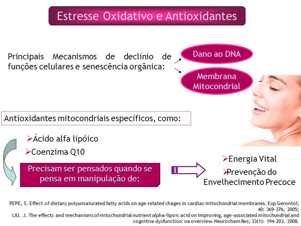 Estresse Oxidativo e Antioxidantes Principais Mecanismos de declínio de funções celulares e senescência orgânica: Dano ao DNA Membrana Mitocondrial Antioxidantes mitocondriais específicos, como: Ácido alfa lipóico Coenzima Q10 Precisam ser pensados quando se pensa em manipulação de: Energia Vital Prevenção do Envelhecimento Precoce PEPE, S.