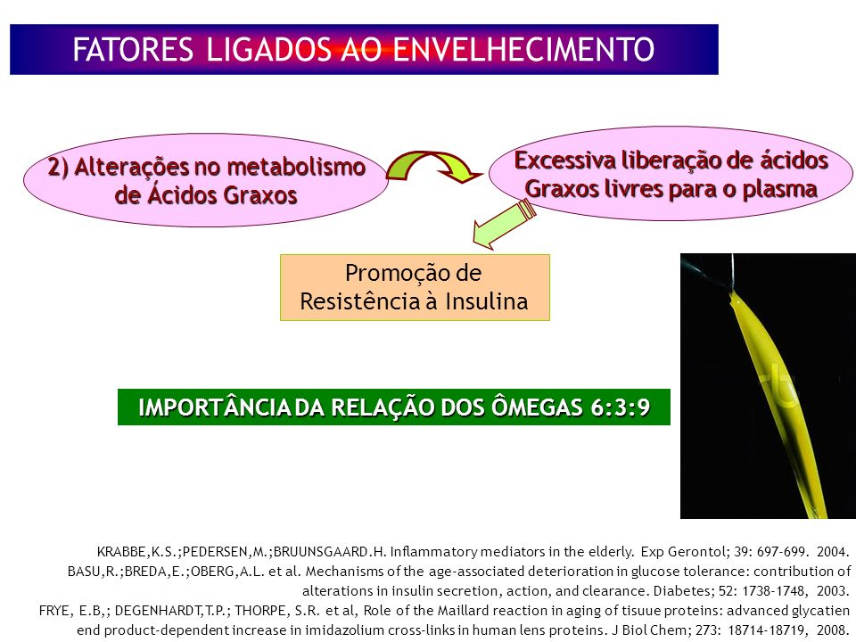 2) Alterações no metabolismo de Ácidos Graxos Excessiva liberação de ácidos Graxos livres para o plasma Promoção de Resistência à Insulina KRABBE,K.S.;PEDERSEN,M.;BRUUNSGAARD.H.