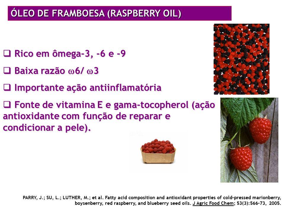 ÓLEO DE FRAMBOESA (RASPBERRY OIL) Rico em ômega-3, -6 e -9 Rico em ômega-3, -6 e -9 Baixa razão 6/ 3 Baixa razão 6/ 3 Importante ação antiinflamatória