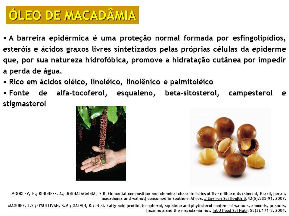 ÓLEO DE MACADÂMIA A barreira epidérmica é uma proteção normal formada por esfingolipídios, esteróis e ácidos graxos livres sintetizados pelas próprias