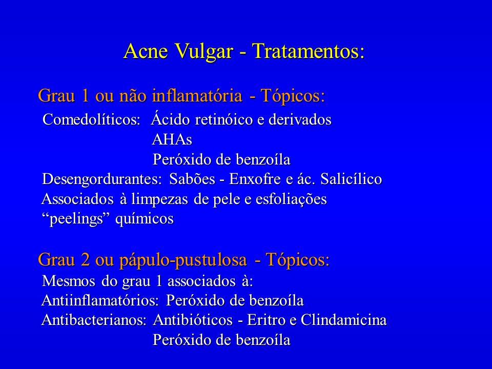 Acne Vulgar - Tratamentos: Grau 1 ou não inflamatória - Tópicos: Comedolíticos: Ácido retinóico e derivados Comedolíticos: Ácido retinóico e derivados