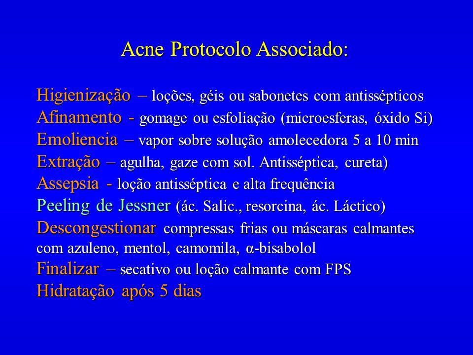 Acne Protocolo Associado: Higienização – loções, géis ou sabonetes com antissépticos Afinamento - gomage ou esfoliação (microesferas, óxido Si) Emolie
