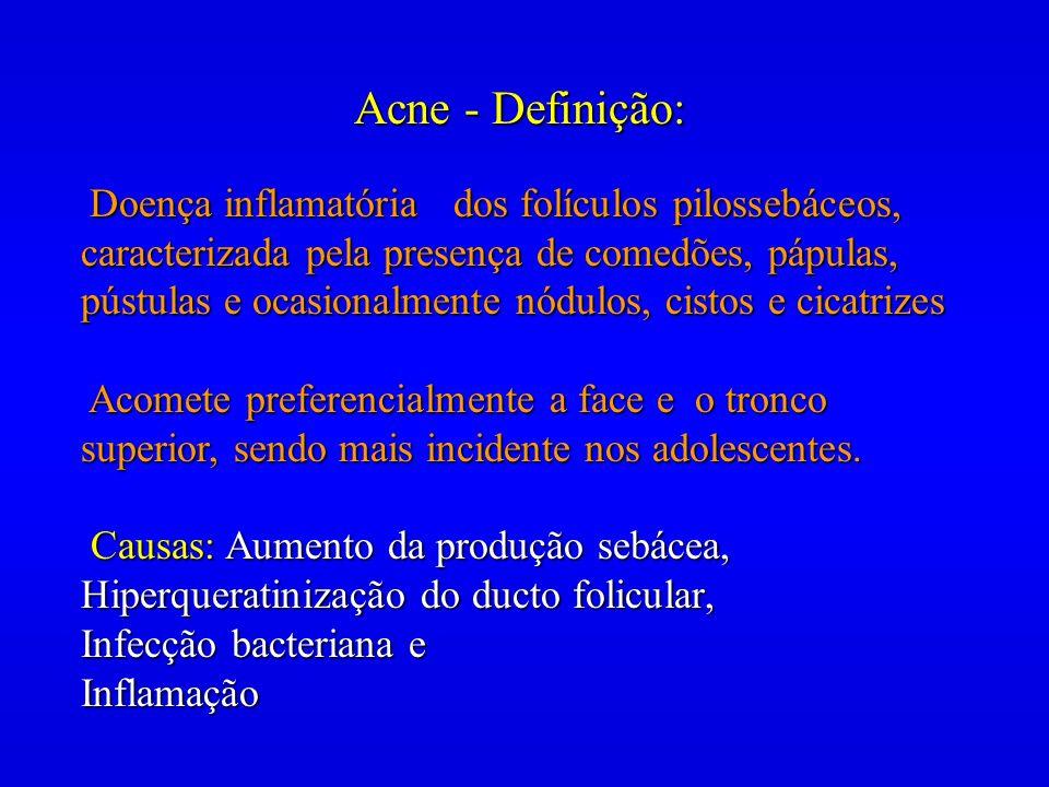 Acne - Definição: Doença inflamatória dos folículos pilossebáceos, caracterizada pela presença de comedões, pápulas, pústulas e ocasionalmente nódulos