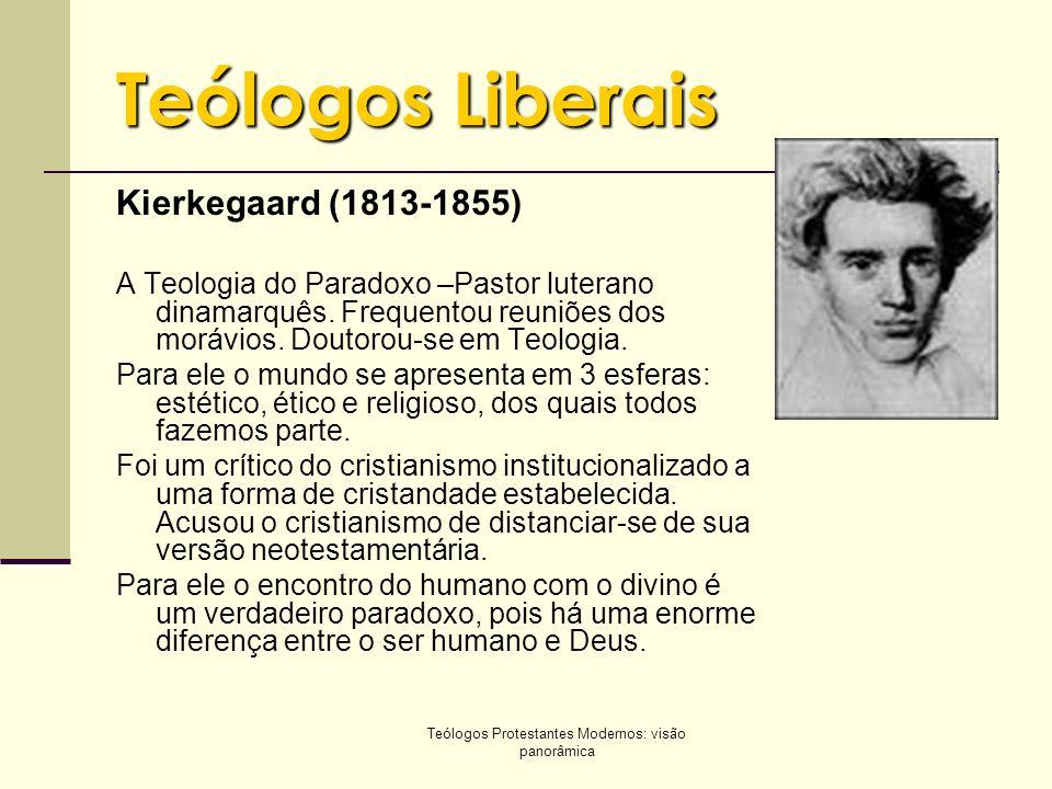 Teólogos Protestantes Modernos: visão panorâmica Teólogos Liberais Kierkegaard (1813-1855) A Teologia do Paradoxo –Pastor luterano dinamarquês. Freque