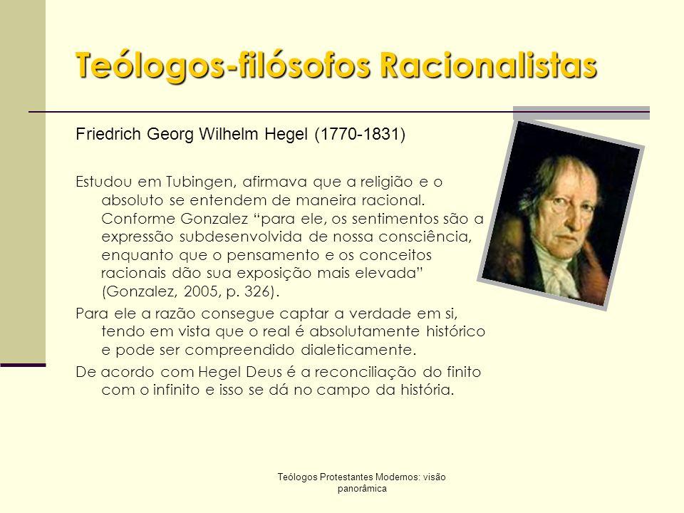 Teólogos Protestantes Modernos: visão panorâmica Teólogos-filósofos Racionalistas Friedrich Georg Wilhelm Hegel (1770-1831) Estudou em Tubingen, afirm