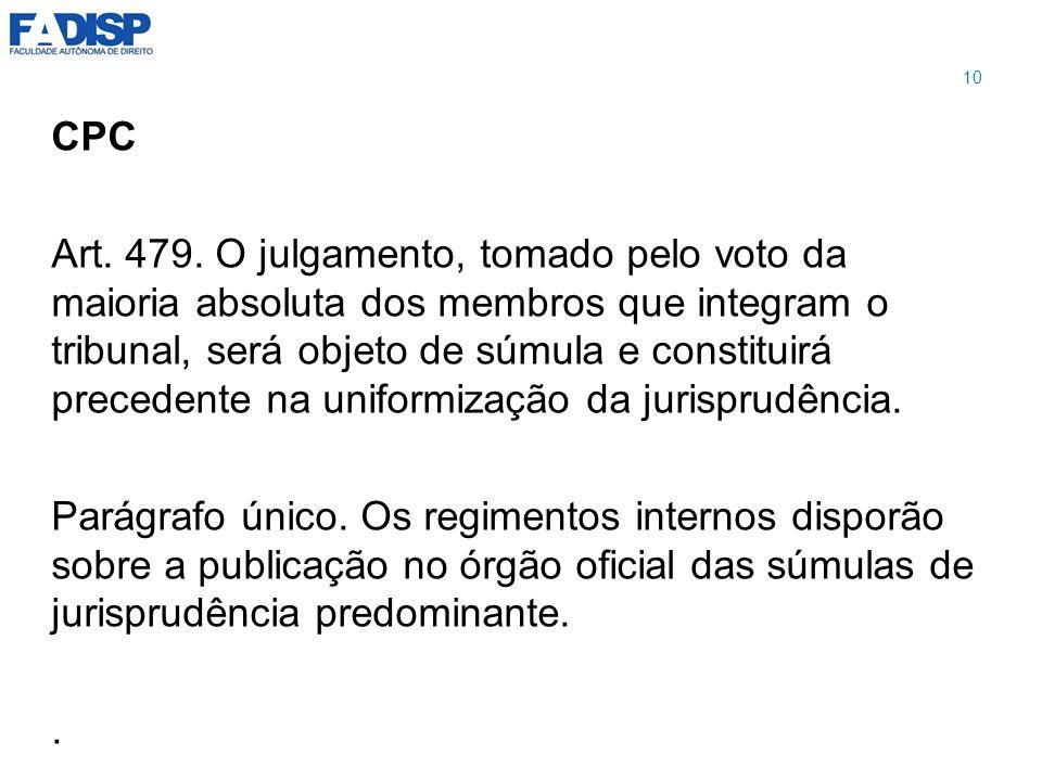 CPC Art. 479. O julgamento, tomado pelo voto da maioria absoluta dos membros que integram o tribunal, será objeto de súmula e constituirá precedente n