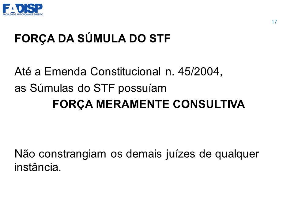 FORÇA DA SÚMULA DO STF Até a Emenda Constitucional n. 45/2004, as Súmulas do STF possuíam FORÇA MERAMENTE CONSULTIVA Não constrangiam os demais juízes