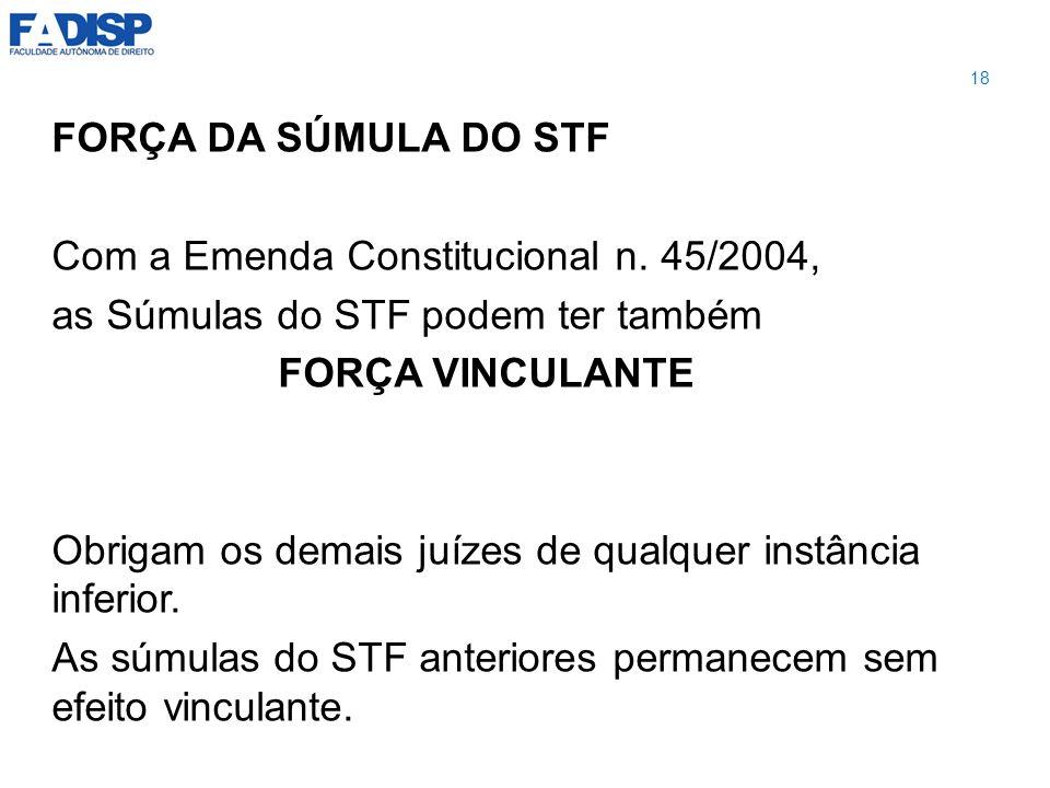 FORÇA DA SÚMULA DO STF Com a Emenda Constitucional n. 45/2004, as Súmulas do STF podem ter também FORÇA VINCULANTE Obrigam os demais juízes de qualque