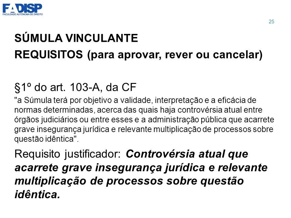 SÚMULA VINCULANTE REQUISITOS (para aprovar, rever ou cancelar) §1º do art. 103-A, da CF