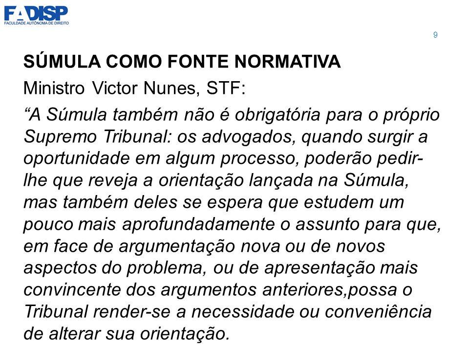SÚMULA COMO FONTE NORMATIVA Ministro Victor Nunes, STF: A Súmula também não é obrigatória para o próprio Supremo Tribunal: os advogados, quando surgir