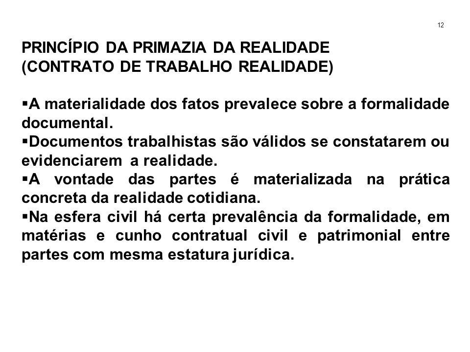 PRINCÍPIO DA PRIMAZIA DA REALIDADE (CONTRATO DE TRABALHO REALIDADE) A materialidade dos fatos prevalece sobre a formalidade documental. Documentos tra