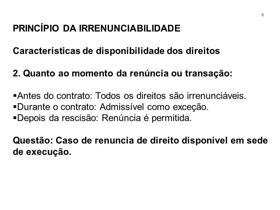 PRINCÍPIO DA IRRENUNCIABILIDADE Características de disponibilidade dos direitos 2. Quanto ao momento da renúncia ou transação: Antes do contrato: Todo