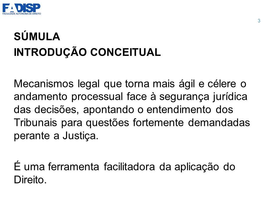 SÚMULA PRINCÍPIOS INFORMADORES: -Segurança jurídica -Celeridade processual 4