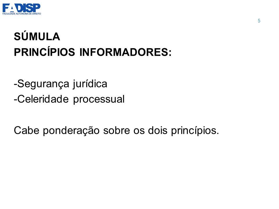 SÚMULA PRINCÍPIOS INFORMADORES: -Segurança jurídica.